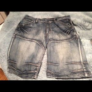 Washed blue denim bermuda shorts, EUC.